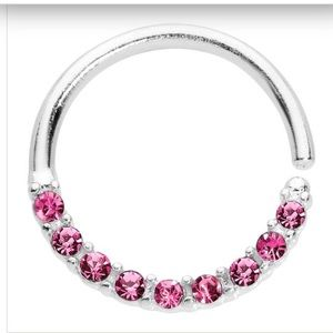 Body Candy 16G Pink Jewel Septum Ring NEW